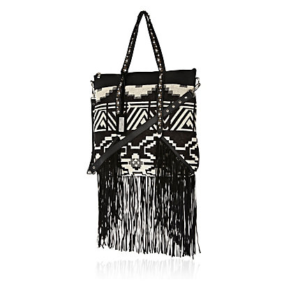 Black fringed tapestry tote bag