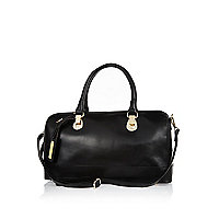 Black structured leather bowler bag