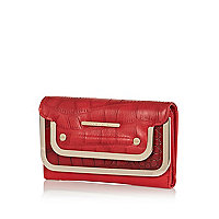 Red croc panel metal trimmed purse