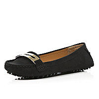 Black moccasin driving shoes