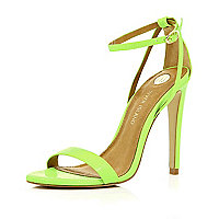 Bright green barely there stiletto sandals