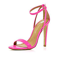 Bright pink barely there stiletto sandals