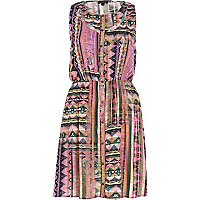 Pink cut-out tribal print sleeveless dress
