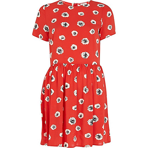 Red sunflower print tea dress