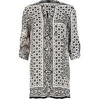 Black and white scarf print shirt dress