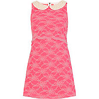 Pink lace pearl collar Lashes of London dress