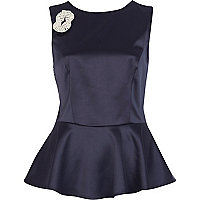 Navy brooch embellished peplum top