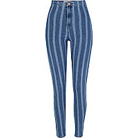 Mid wash striped denim tube pants