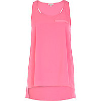 Fluro pink racer back stepped hem vest