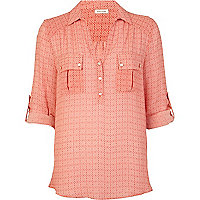 Red tile print linen shirt