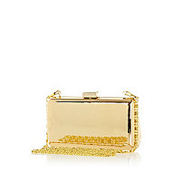 Gold tone metal box clutch bag