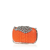 Coral diamante peacock box clutch bag
