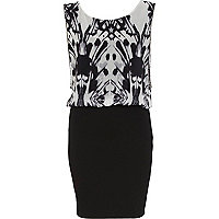 Black abstract print 2 in 1 dress