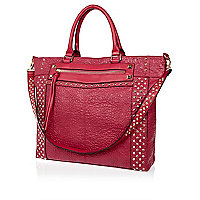 Pink gem studded tote bag
