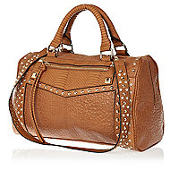 Tan stud and gem bowler bag