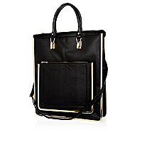 Black metal trim long tote bag