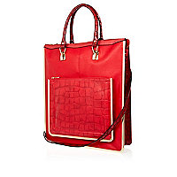 Red metal trim long tote bag