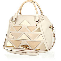 Cream triangle applique metal plate holdall