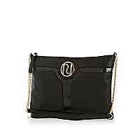 Black cut out panel cross body bag
