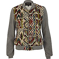 Grey aztec embroidered bomber jacket