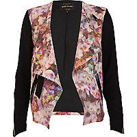 Pink floral buckled waterfall jacket