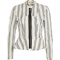 White lurex stripe peplum jacket