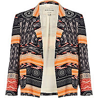 Black tribal patchwork print blazer