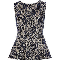 Navy floral lace sleeveless peplum top