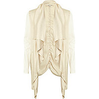 Cream lightweight waterfall biker jacket