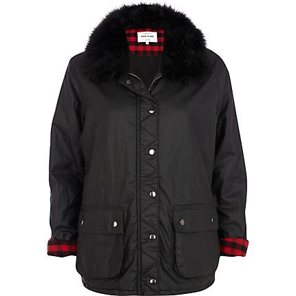 Navy faux fur collar waxed jacket