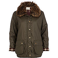 Khaki faux fur collar waxed jacket