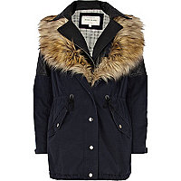 Navy 3 in 1 faux fur parka jacket