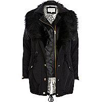 Black 3 in 1 faux fur parka jacket