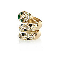 Gold tone snake wrap ring