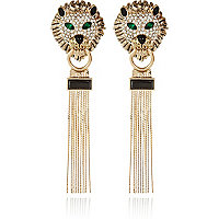 Gold tone Lion head tassel earrings