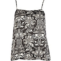 Black and white deco print cami top