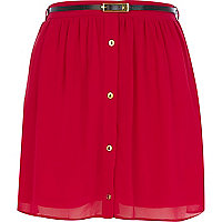 Pink button through belted mini skirt
