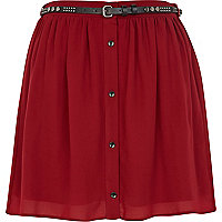 Dark red button through belted mini skirt