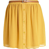 Yellow button through belted mini skirt