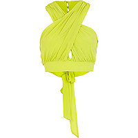 Lime wrapped halter neck crop top