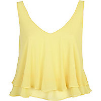 Yellow double layered V neck crop top
