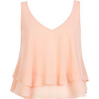 Orange double layered V neck crop top