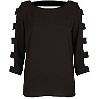 Black cut out sleeve top