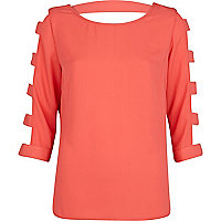 Coral cut out sleeve top