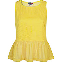 Yellow Chelsea Girl sleeveless peplum top