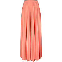 Coral pleated maxi skirt
