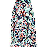 Navy tropical print midi skirt
