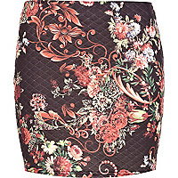 Black quilted oriental print mini skirt