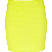 Yellow textured mini tube skirt