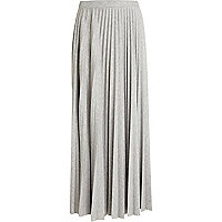 Grey marl pleated maxi skirt